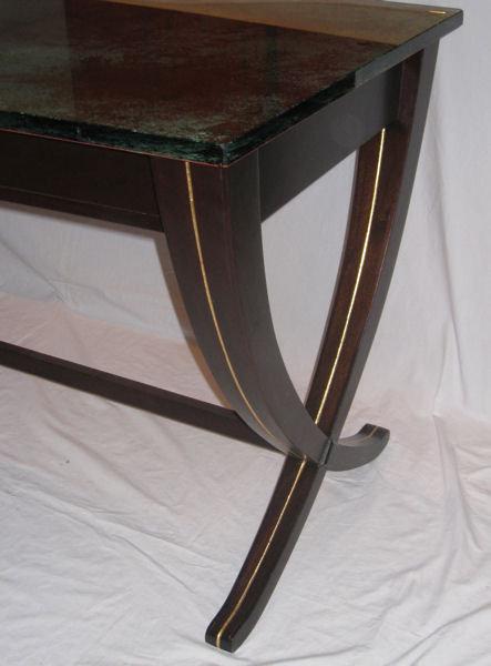 Mahogany & Acid-Etched Glass Desk by Joe Ginsberg