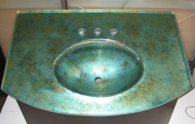 Mahogany & Acid-Etched Glass Sink by Joe Ginsberg