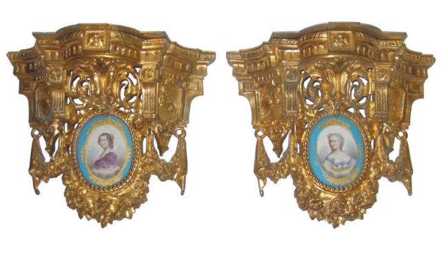 Pair Antique French Ormolu Bronze & Porcelain Brackets