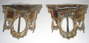 Pair Antique French Ormolu Bronze & Porcelain Brackets