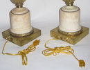 Pair Antique Floral Porcelain & Marble Table Lamps