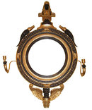 Egyptian Revival Empire Style Girandole Giltwood Wall Mirror