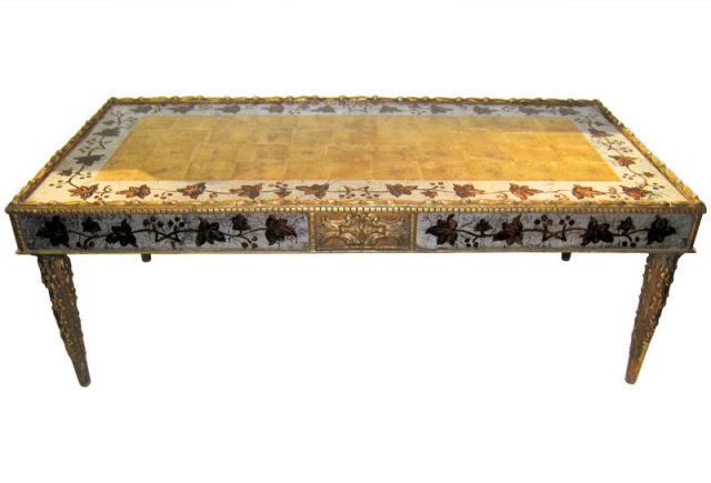 Mid-Century Maison Jansen Eglomise Glass Coffee Table
