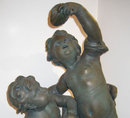 Neoclassical Allegorical Patinated Gesso Cherubs Group Sculpture