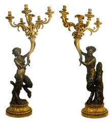 Pair Tall Antique Greek Satyr Figural Bronze Candelabra After Clodion