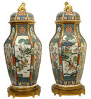 Pair Large Chinese Famille Verte Porcelain Bronze Mounted Urns