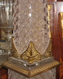 Pair Tall Antique French Empire Style Ormolu Metal & Cut Crystal Obelisks