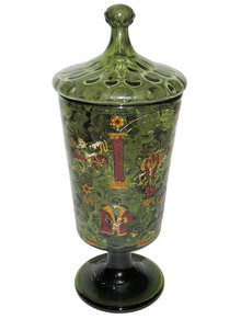 Antique German Hessen Enamelled Glass Humpen Goblet Pokal