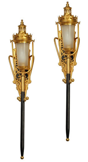 Pair Antique Bronze Coach Lights Lamps