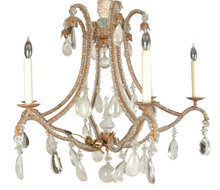 Vintage Italian Tole Metal & Crystal 6-Light Chandelier