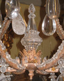Vintage Italian Tole Metal & Crystal 6-Light Chandelier