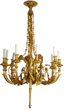 Antique Louis XV Style Gilt Bronze 10-Light Chandelier