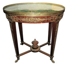 Antique French Louis XVI Style Malachite Gueridon Table