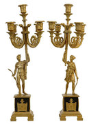 Pair Antique Empire Style Bronze Figural Candelabra