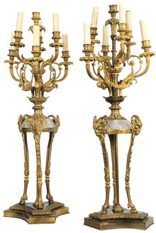 Pair Antique Regency Style Bronze & Crystal Candelabras