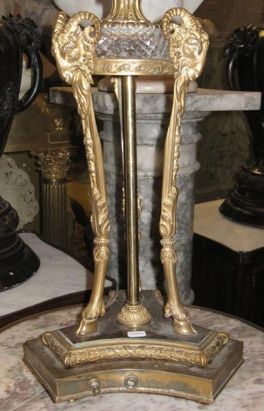 Pair Antique Regency Style Bronze & Crystal Candelabras