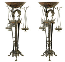 Pair Antique Italian Grand Tour Bronze Incense Burners