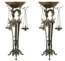 Pair Antique Italian Grand Tour Bronze Incense Burners