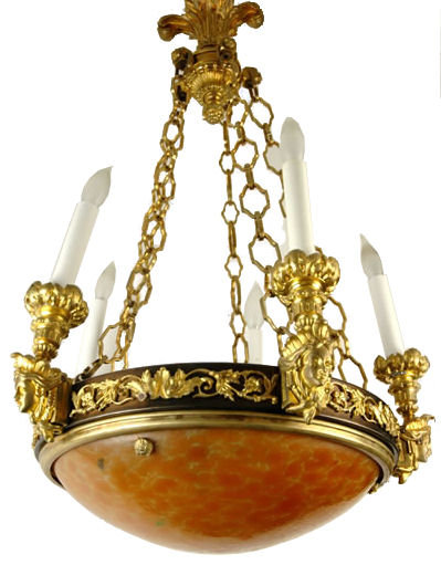 Empire Style Bronze Colored Glass Coupe Chandelier