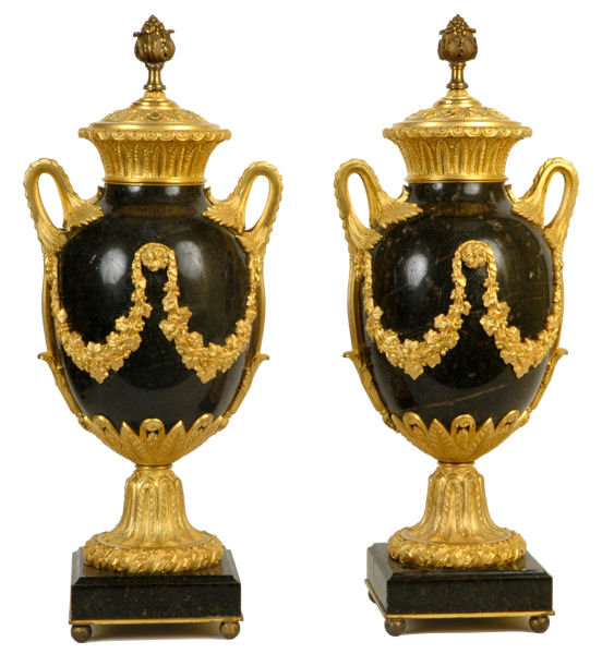 Pair Antique Neoclassical Marble & Ormolu Bronze Urns
