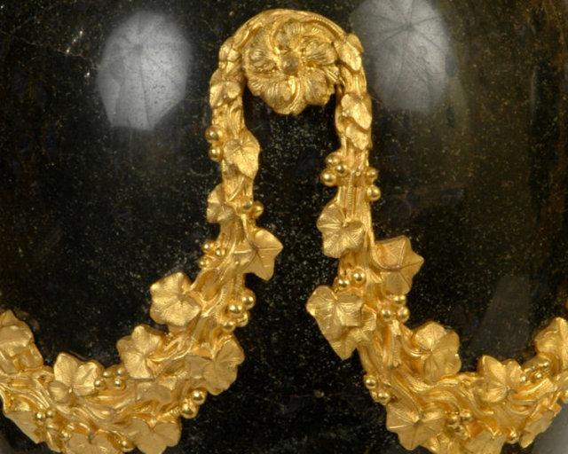 Pair Antique Neoclassical Marble & Ormolu Bronze Urns