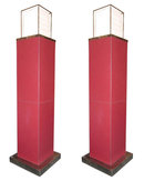 Pair Jean-Berenger de Nattes Red Leather Floor Lamps