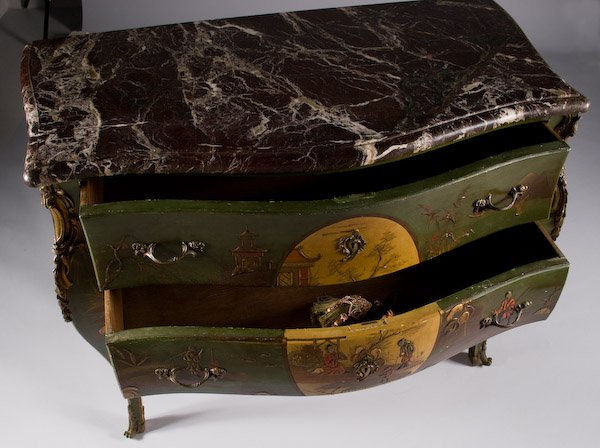 Antique Louis XV Style Chinoiserie Bombe Commode Chest