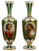 Pair Antique Moser Bohemian Glass Portrait Vases