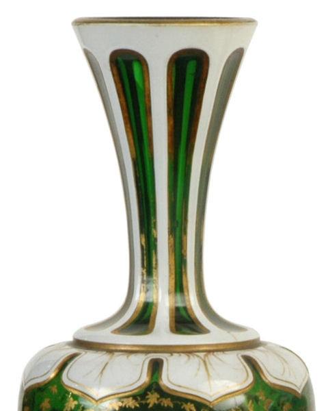 Pair Antique Moser Bohemian Glass Portrait Vases