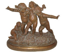 Antique Bacchanalian Terracotta Cherubs Sculpture After Carrier Belleuse