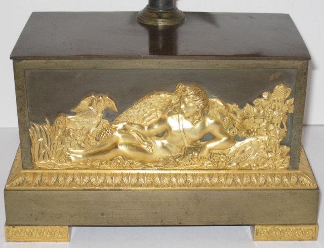 Antique Empire Style Patinated Gilt Bronze Mantle Clock