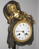 Antique Empire Style Patinated Gilt Bronze Mantle Clock