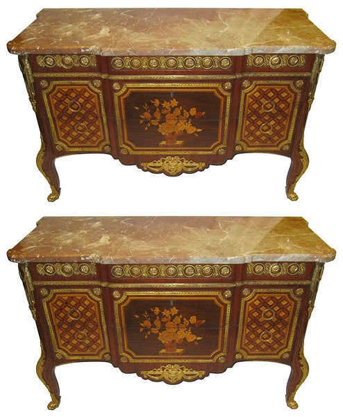 Pair of French Louis XV XVI Style Commodes or Side Cabinets