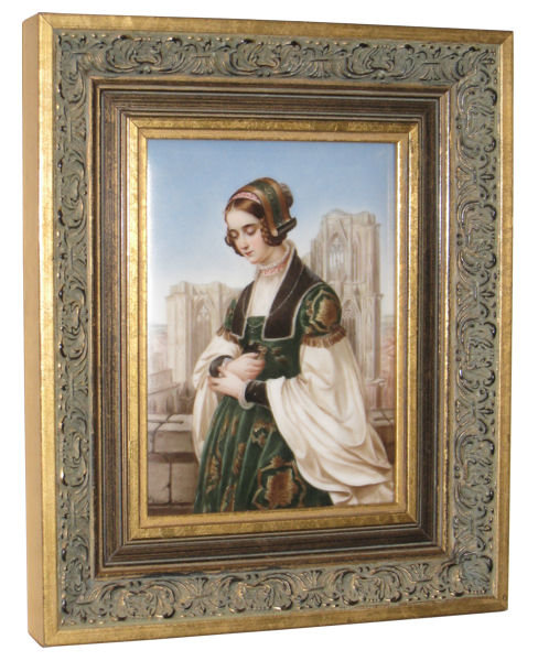 Antique Gothic Portrait Plaque by Flander After Louis Ammy Blanc for Hutschenreuther