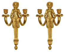 Pair Dore Bronze Cherub Putti Louis XV Style Sconces
