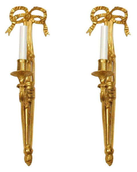 Pair Dore Bronze Louis XVI Style Ribbon Motif Sconces