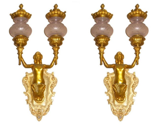 Pair Neoclassical Gilt Bronze Figural 2-Candle Sconces