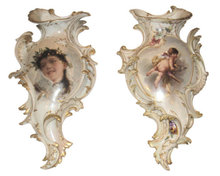 Pair of Antique KPM Porcelain Wall Pockets Planters