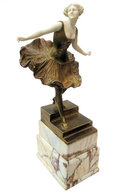 Antique Bronze Ballerina Figurine Sculpture by Victor