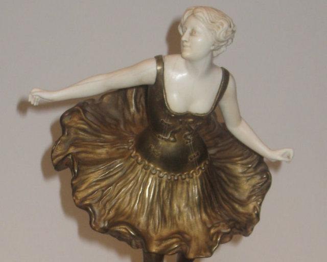 Antique Bronze Ballerina Figurine Sculpture by Victor