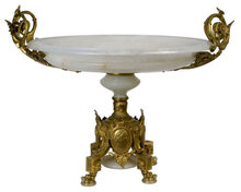Antique French Louis XIV Style Bronze & Onyx Centerpiece
