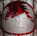 Bohemian Stag Motif Engraved Clear & Ruby Glass Goblet