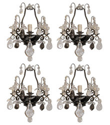 Set 4 French Bagues Style Tole Metal & Rock Crystal Sconces