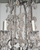 Modern 8-Candle Silvered Metal Rock Crystal Chandelier