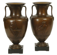 Pair Antique Bronze Greek Revival Amphora Vases Jars