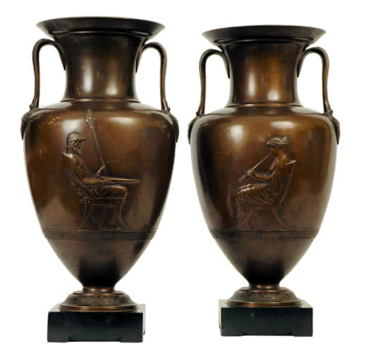 Pair Antique Bronze Greek Revival Amphora Vases Jars