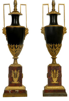Pair Antique French Empire Ormolu Bronze Urns Vases