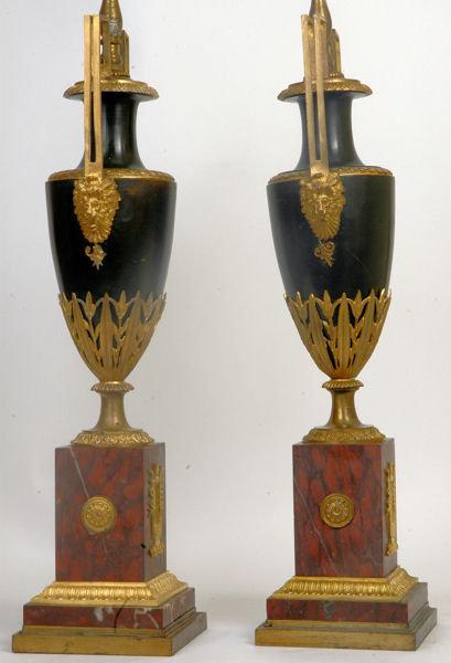 Pair Antique French Empire Ormolu Bronze Urns Vases