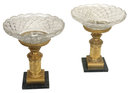 Pair Russian Empire Style Bronze & Cut Glass Tazzas