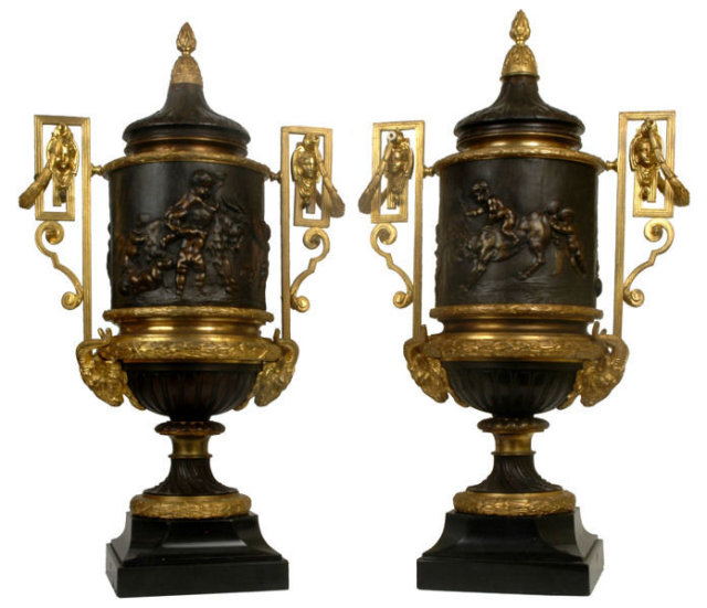 Louis Clodion Attributed Pair of Louis XVI Bronze Urns